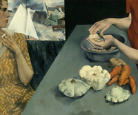 In Peter Blume's Vegetable Dinner, 1927, two women, one peeling potatoes, one smoking a cigarette, whisper at the crossroads between domestic and bohemian life, says Sarah Kelly Oehler of the Art Institute of Chicago. (Smithsonian American Art Museum, Art © The Educational Alliance, Inc./Estate of Peter Blume/Licensed by VAGA New York, NY)