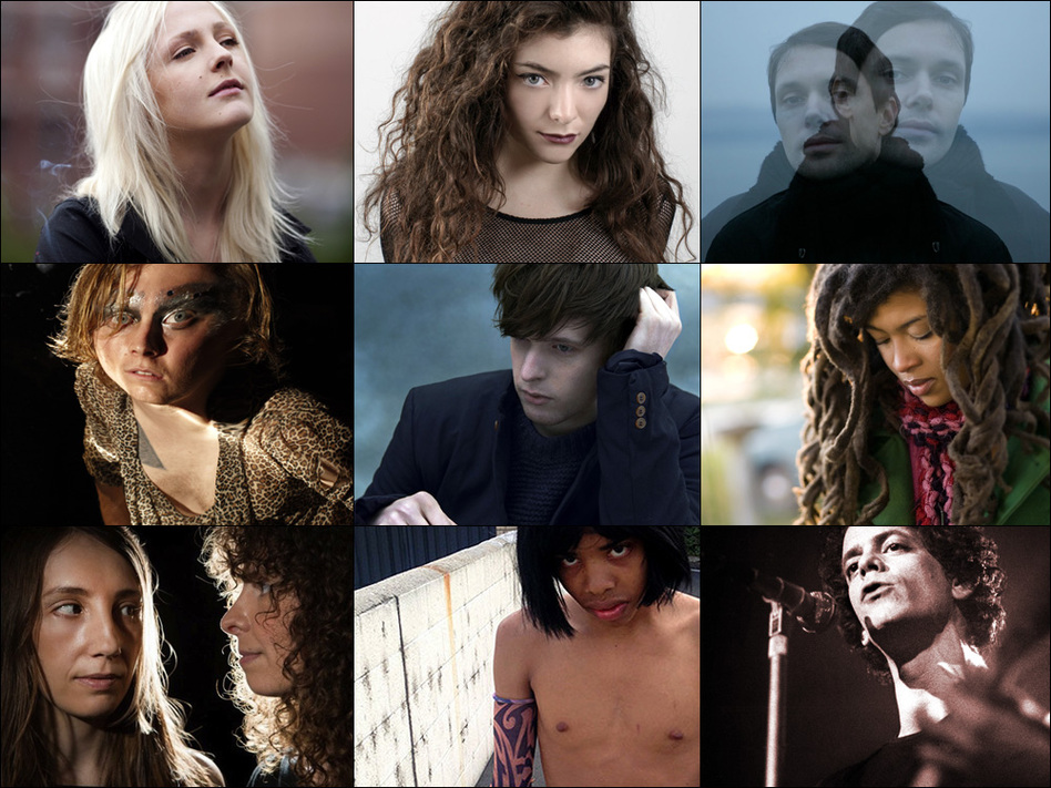 Top row, left to right: Laura Marling, Lorde, Mike Milosh of Rhye; middle row: Ty Segall, James Blake, Valerie June; bottom row: Khaela Maricich and Melissa Dyne of The Blow, Earl Sweatshirt, Lou Reed. (Courtesy of the artists)