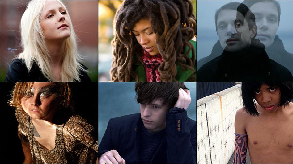 Top row, left to right: Laura Marling, Valerie June, Mike Milosh of Rhye; bottom row: Ty Segall, James Blake, Earl Sweatshirt.