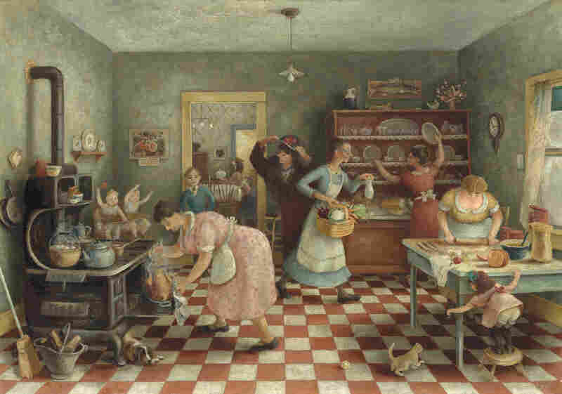 "Doris Lee's Thanksgiving, circa 1935, was, even then, a nostalgic look back at the quintessential American food holiday. ""At a time of economic struggle, Thanksgiving offered a creation story for the nation that could unify the population around a familiar meal of turkey, stuffing, and all the trimmings,"" says Oehler. (Mr. and Mrs. Frank G. Logan Purchase Prize Fund)"