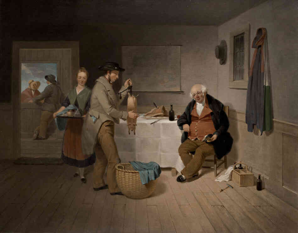Francis W. Edmonds' The Epicure, 1838, is one of the earliest depictions of a tavern meal in American history, says Judith A. Barter, curator of American art at the Art Institute of Chicago. She says it represents America at a political crossroads between urban and rural ways of life and styles of government. (The Ella Gallup Sumner and Mary Catlin Sumner Collection Fund)