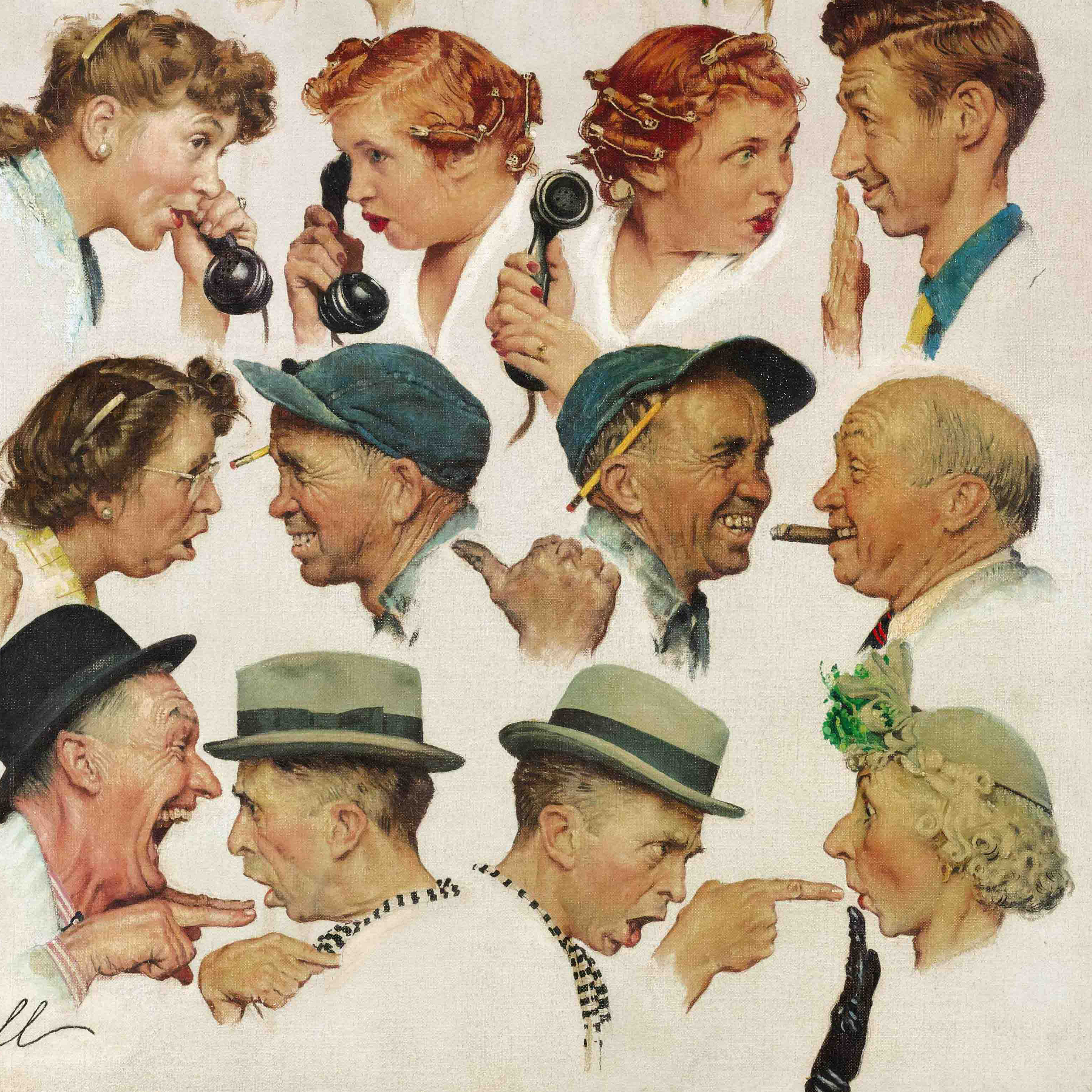 Rockwell's The Gossips, seen here in a detail view, sold for nearly $8.5 million Wednesday. To see the full painting, click the image.