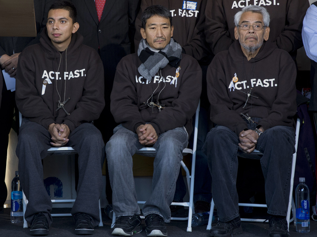 Activists Cristian Avila (left), Dae Joong Yoon and Eliseo Medina ended their fasting for immigration reform after 22 days in Washington, D.C.