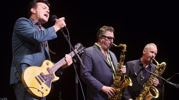 James Hunter (left) and members of The James Hunter Six perform live on Mountain Stage.