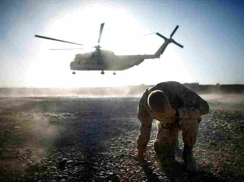 """A U.S. military helicopter takes off in southern Afghanistan. They may still be called """"choppers"""" in the movies, but troops universally refer to them as """"birds."""""""