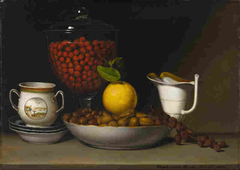 Raphaelle Peale is considered the first American professional still-life painter. His Still Life - Strawberries, Nuts, &c., 1822, exemplifies early American efforts to showcase the bounty of North America. (Gift of Jamee J. and Marshall Field)