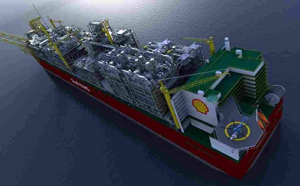 A rendering of the world's largest vessel, the Shell Prelude, which comes in at just over 1,600 feet. It has just left its dry dock in South Korea, where it is being built. It will eventually head toward Australia, where it will be anchored off the coast and used as a liquefied natural gas facility.