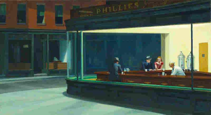 Edward Hopper's iconic Nighthawks, 1942, embodies the increasing isolation of young professionals in the cities, and stands in sharp contrast to Norman Rockwell's Freedom From Want, depicting a loving couple bringing a giant turkey to the family table, painted the same year. (Friends of American Art Collection)