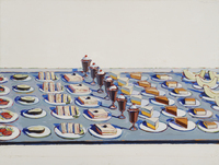 "Wayne Thiebaud's Salad, Sandwiches and Dessert, 1960. Pop artists like Thiebaud and Andy Warhol ""referenced commercial food culture to underscore questions of art making, originality, and the value of the handmade in their work,"" says Barter. (Lent by Sheldon Museum of Art © Wayne Thiebaud/Licensed by VAGA, New York, NY)"