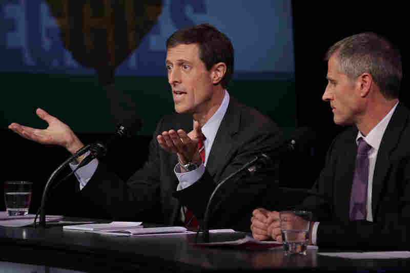 "Dr. Neal Barnard and Gene Baur argue in favor of the motion ""Don't Eat Anything With A Face."""