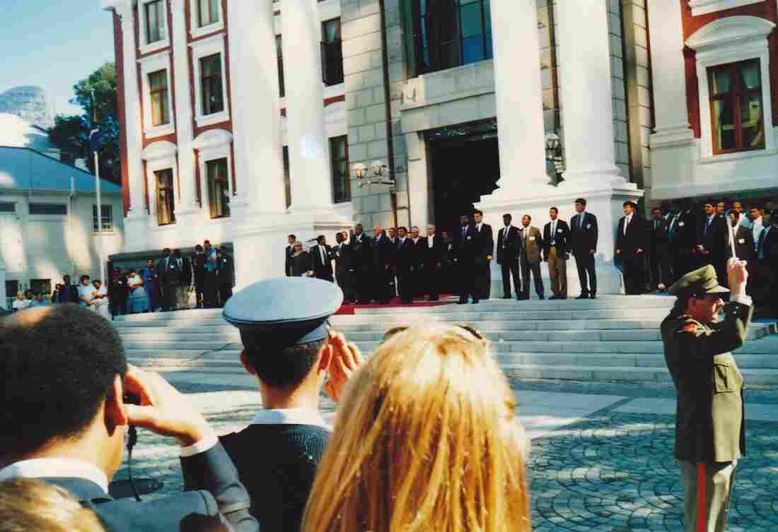 President-elect Nelson Mandela and President F.W. de Klerk outside the South African Parliament in Cape Town, May 9, 1994.