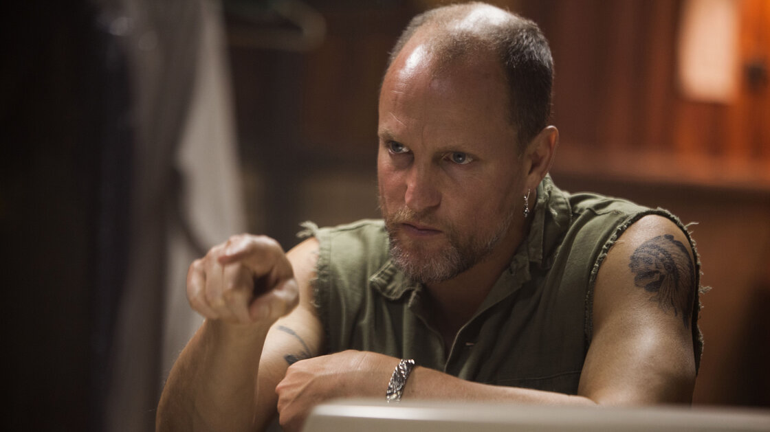 Tapping into his anger and rage, Woody Harrelson plays the meth-smoking psychopath antagonizing Christian Bale in Out of the Furnace.