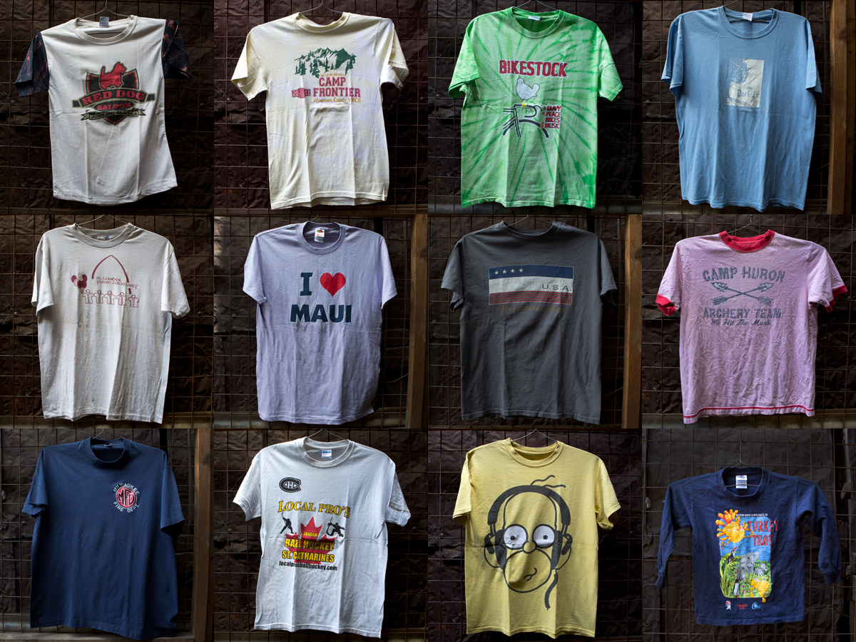 A collection of used t-shirts from two markets in Kenya.
