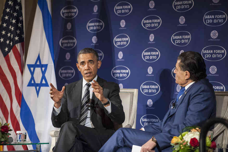 President Obama participates in a conversation with Saban Forum Chairman Haim Saban at the 10th annual Saban Forum on Saturday.