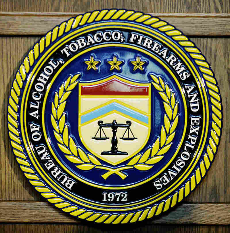 The seal of the US Bureau of Alcohol, Tobacco, Firearms and Explosives photographed in 2007.