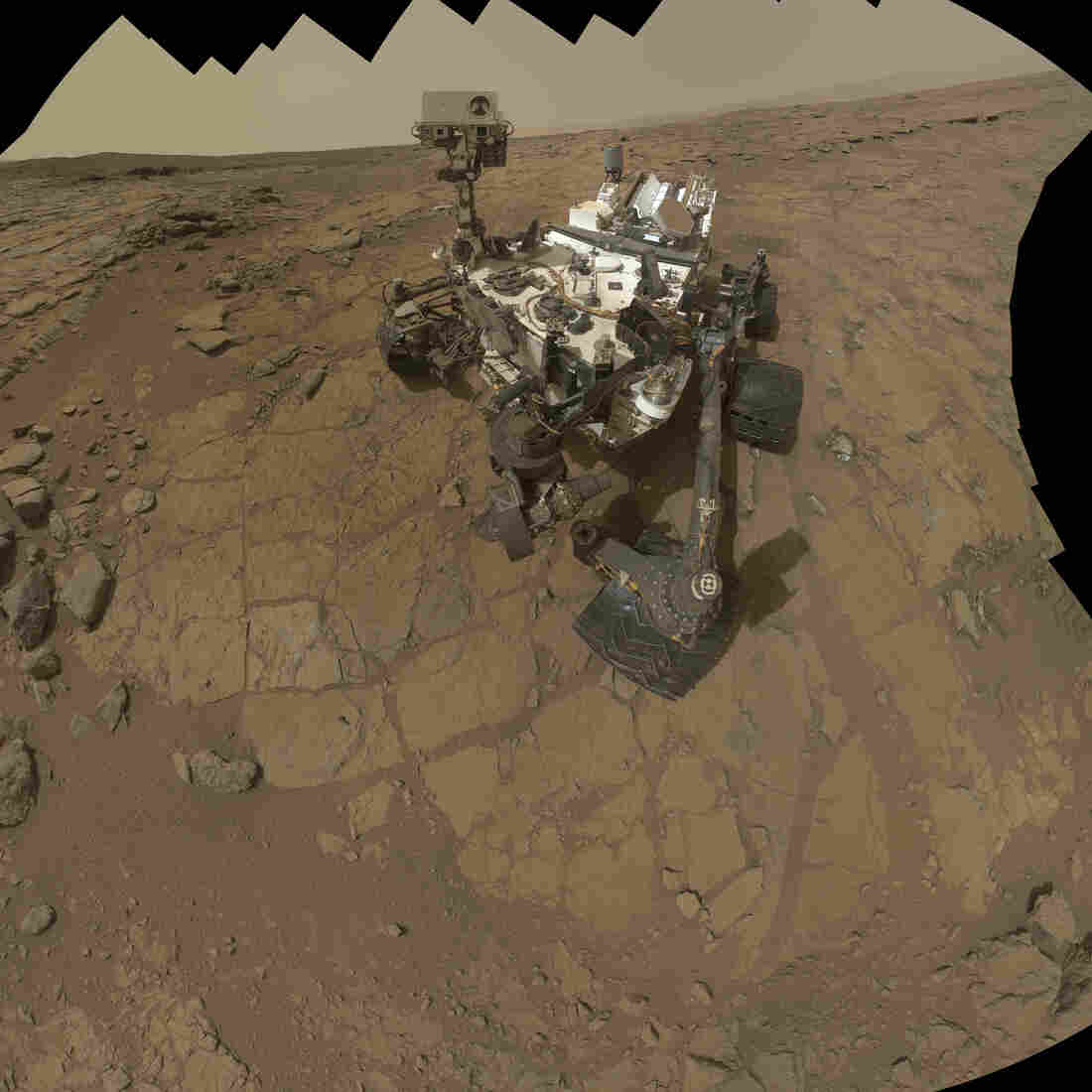 The Mars rover Curiosity took this self-portrait in February.