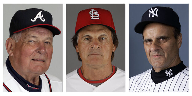 Hall Of Fame Managers: The Atlanta Braves' Bobby Cox (from left), the St. Louis Cardinals' Tony La Russa, and the New York Yankees' Joe Torre.