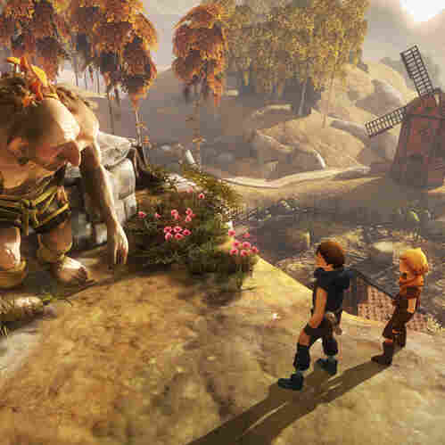 The titular brothers of the game encounter a troll, one of the many colorful characters they meet on their grand adventure.
