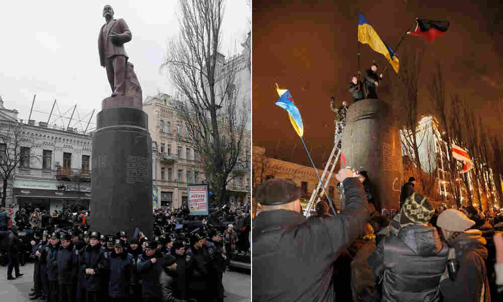 At right, Ukrainian protesters stand atop a ruined monument to Vladimir Lenin in central Kiev, Ukraine, Sunday, Dec. 8 — one week after police protected the statue during protests, left. The statue of the Bolshevik leader was toppled and broken apart with sledgehammers.