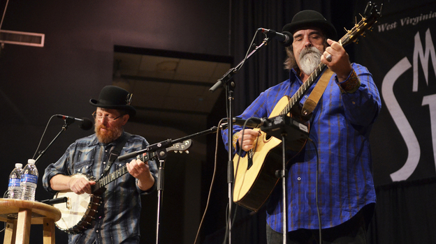 Tim O'Brien (left) and Darrell Scott perform live on Mountain Stage. (Mountain Stage)