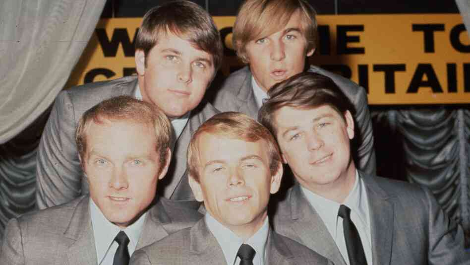 The Beach Boys in 1964. Top row: Carl Wilson, Dennis Wilson. Bottom row: Mike Love, Al Jardine, Brian Wilson.