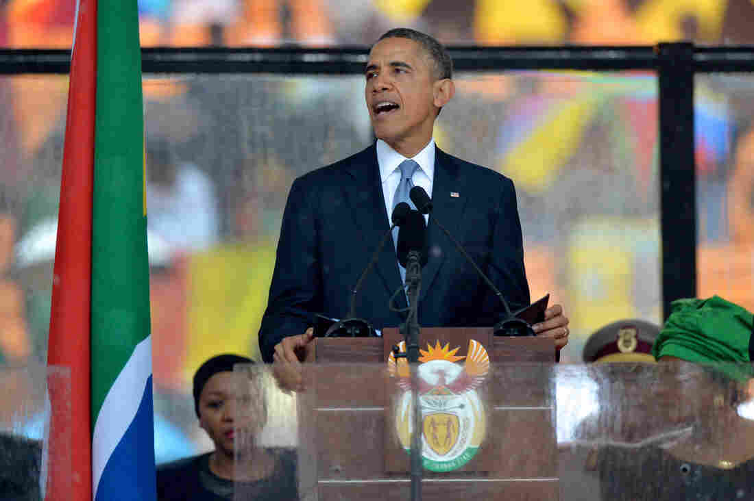President Obama delivers a speech Tuesday during the memorial service for late South African President Nelson Mandela in Johannesburg.