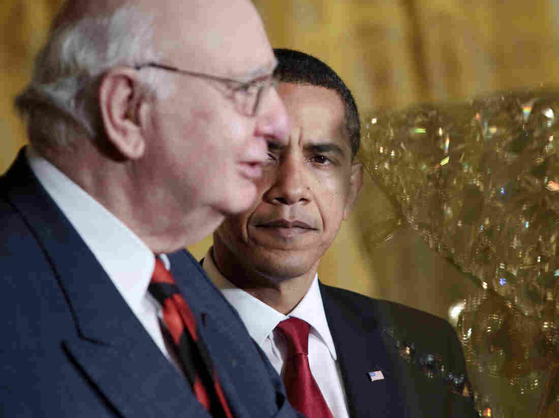President Obama with Paul Volcker at the White House in 2009. Volcker, who headed the President's Economic Recovery Advisory Board, lent his name to a new