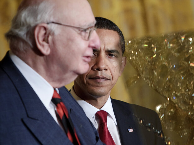 President Obama with Paul Volcker at the White House in 2009. Volcker, who he