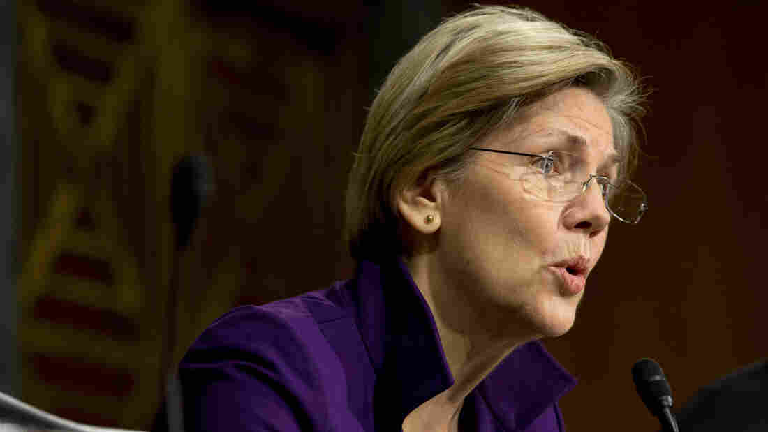 Sen. Elizabeth Warren, D-Mass., at a November hearing of the Senate Banking, Housing and Urban Affairs Committee. A recent op-ed critical of Warren's brand of economic populism sparked an intraparty dispute among Democrats.