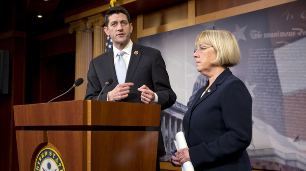 House Budget Committee Chairman Paul Ryan, R-Wis., and Senate Budget Committee Chairwoman Patty Murray, D-Wash., announce a proposed spending plan at the Capitol on Tuesday. (AP)