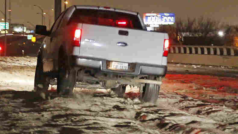 Cobblestone ice has made travel downright dangerous. Over the weekend, Ross Hailey of the Fort Worth Star-Telegram captured this truck driving over cobblestone ice in Haltom City.