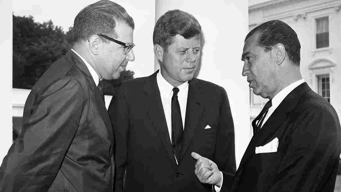 A military plot has been blamed in the death of Brazil's former President Juscelino Kubitschek, seen here at the White House in 1961 speaking with President John F. Kennedy. For years, Kubitschek's death was blamed on a car accident.