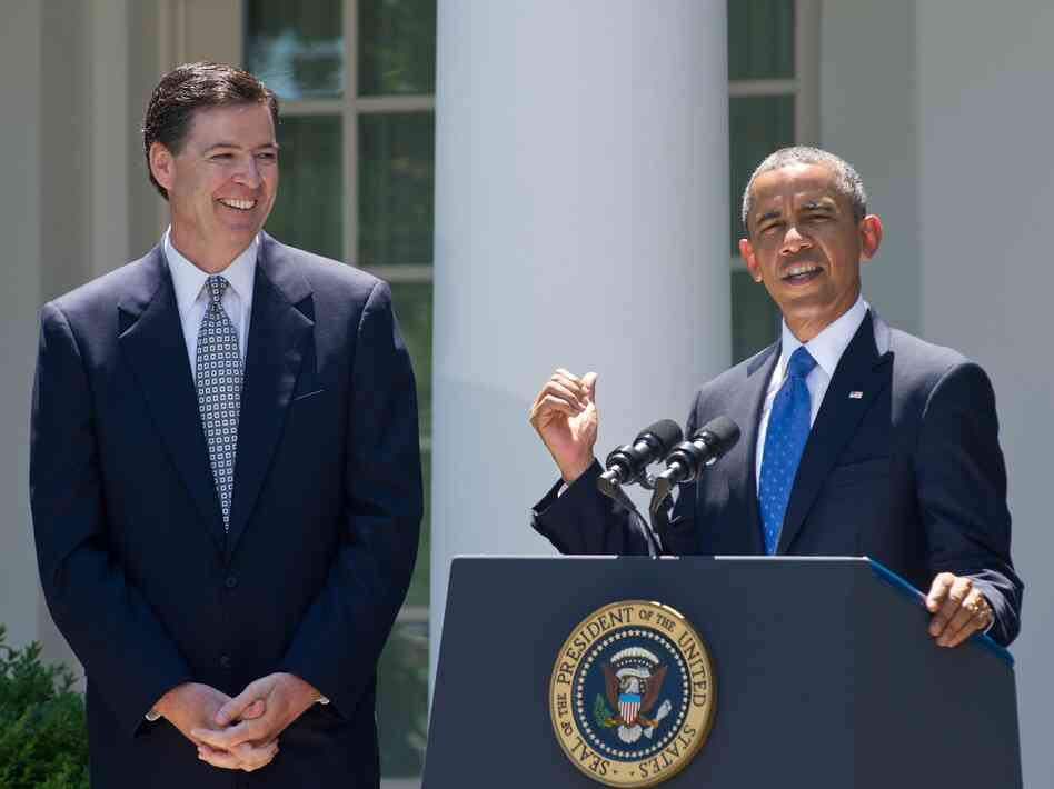 James Comey in the White House Rose Garden as President Obama nominates him for the top FBI post on June 21.