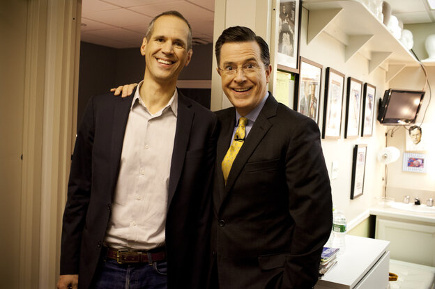 Planet Money's Alex Blumberg and Stephen Colbert after a taping of