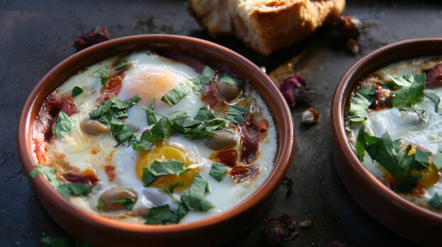 Eggs are baked in a savory sauce in this Berber Omelet recipe