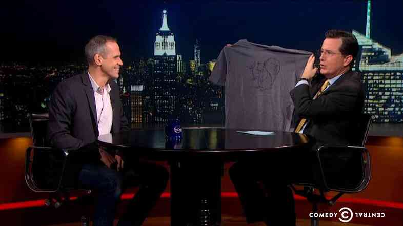 NPR's Alex Blumberg talks about the Planet Money t-shirt project on The Colbert Report.