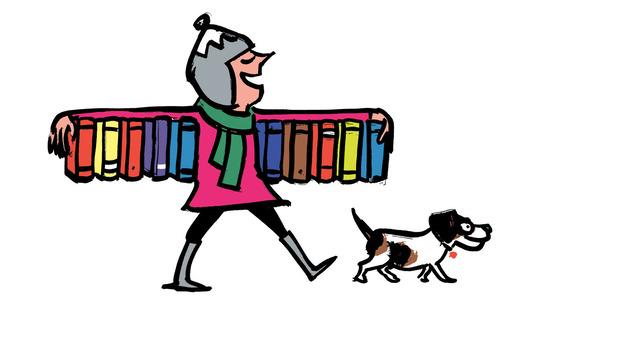 Illustration of woman and books. (Nishant Choksi)