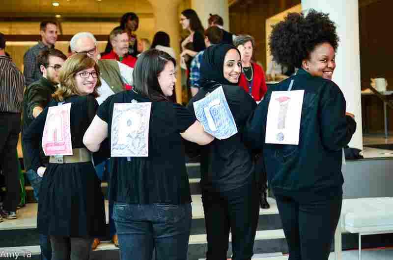 "NPR's ""Little Helpers,"" aka the intern team, (l-r) Digital News Desk's Emily Siner, News Apps' Shelly Tan, Backseat Book Club/The Race Card Project's Amarra Ghani and Digital Media Music's Kiana Fitzgerald show off their costumes."