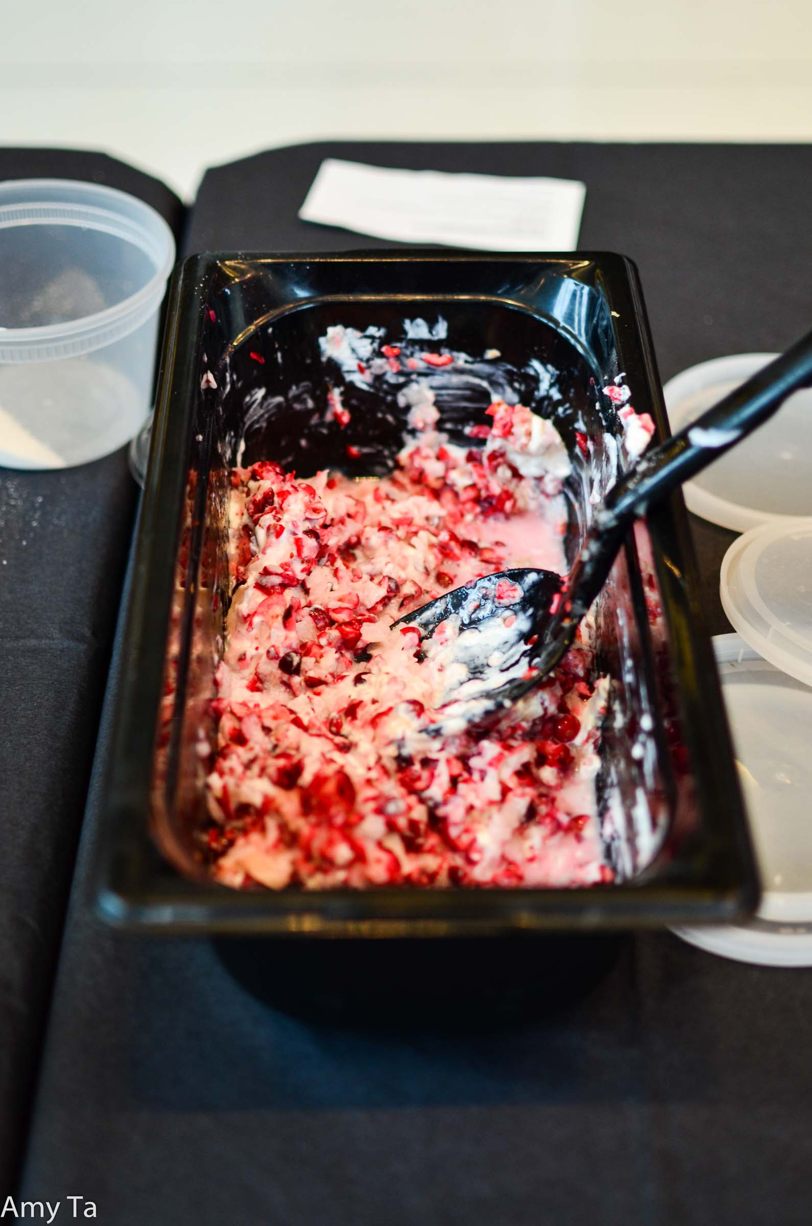 If you guessed Mama Stamberg's Cranberry Relish, then you are correct! We just hope Susan Stamberg doesn't disown us for using her recipe in this way. Oh, and did we mention they had to take a bite?!