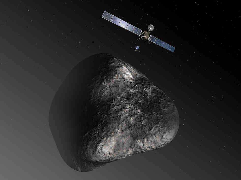 Rosetta and Philae in an artist's rendition of the spacecraft's comet encounter.
