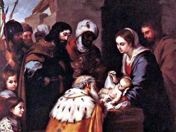 It became an artistic convention during the Middle Ages to depict Balthazar, one of the fabled Magi who come to greet the newborn Christ, as a dark-skinned man. This painting, Adoration of the Magi, is by Bartolome Esteban Murillo.