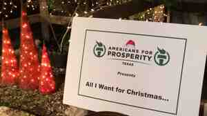 "The Texas chapter of the conservative advocacy group Americans for Prosperity held an event Wednesday called ""All I Want for Christmas is Less Federal Spending."""