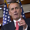 House Speaker John Boehner of Ohio rebukes conservative groups who oppose the pending bipartisan budget compromise during a Thursday news conference on Capitol Hill.