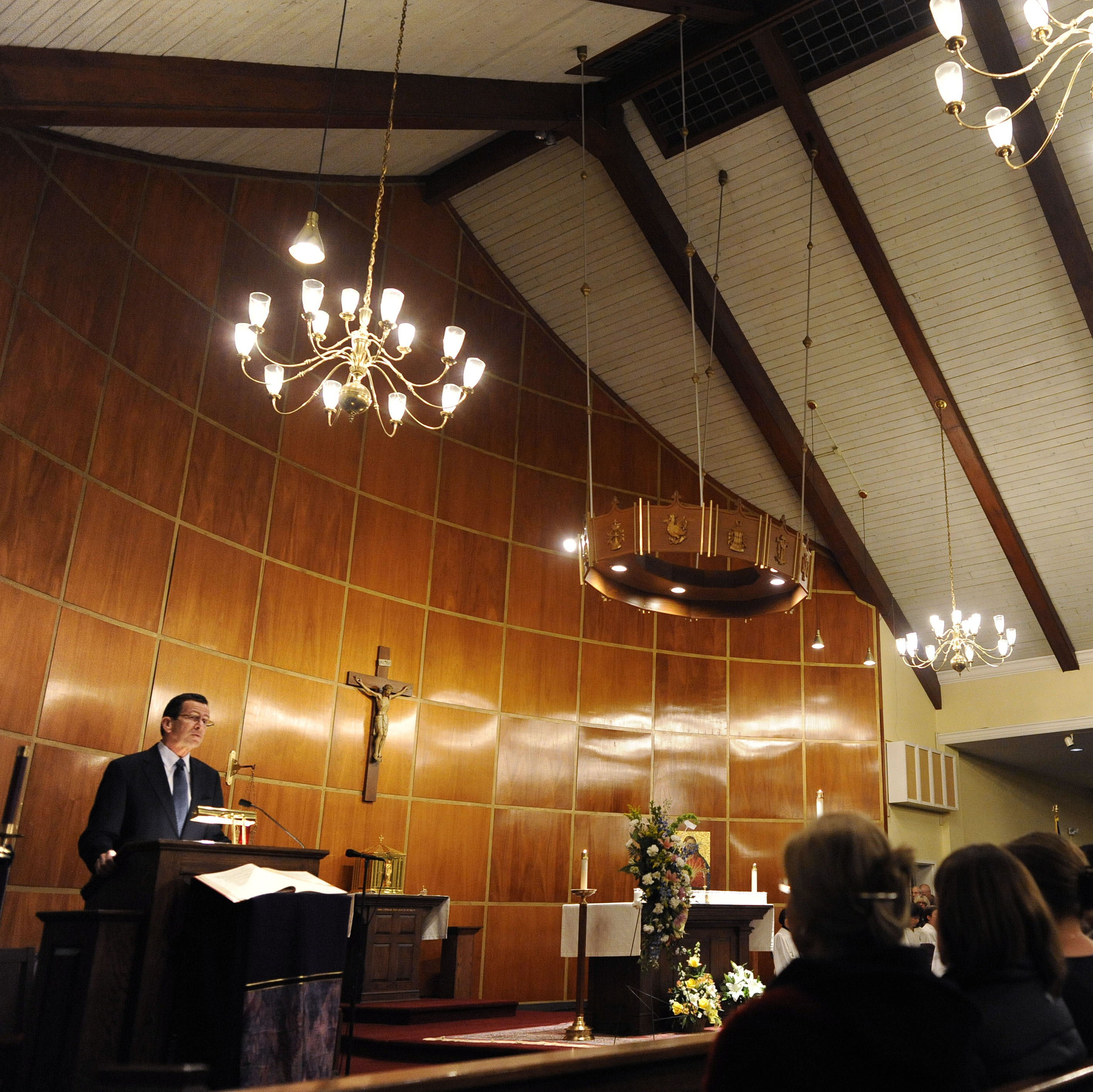 Connecticut Gov. Dannel Malloy speaks to mourners at a vigil service for victims of the Sandy Hook Elementary School shooting in Newtown on Dec. 14, 2012.