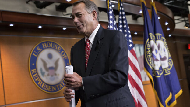 """House Speaker John Boehner leaves a news conference Thursday, after criticizing conservative groups that he said held too much sway in Republican politics, """"pushing our members in places where they don't want to be."""""""