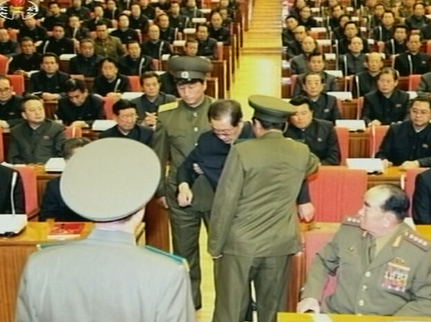 A still image taken from North Korea's state-run television footage and released Monday shows Jang Song Thaek being