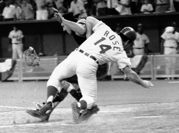 Pete Rose of the National League barreled into American League catcher Ray Fosse at the 1970 All-Star Game in Cincinnati. It's one of the most famous home plate collisions in Major League Baseball history.
