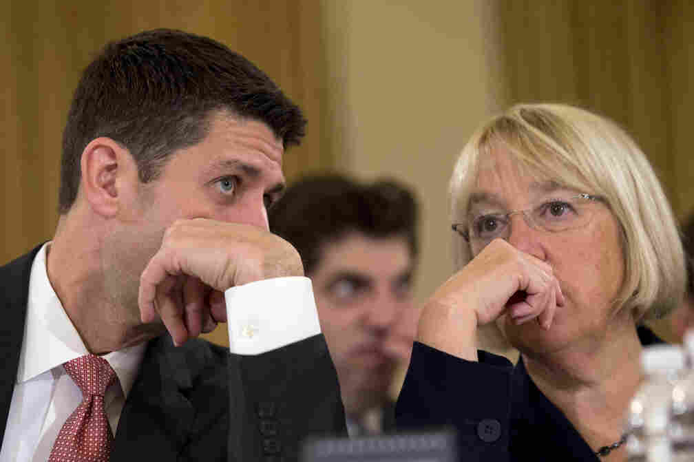 House Budget Committee Chairman Paul Ryan, R-Wis., speaks with Senate Budget Committee Chairwoman Patty Murray, D-Wash., on Nov. 13 at the start of a congressional budget conference.