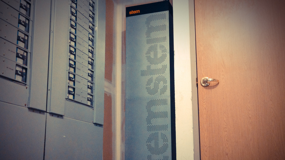 Storage batteries made by Stem, a Bay Area startup, look like glitzy gym lockers.