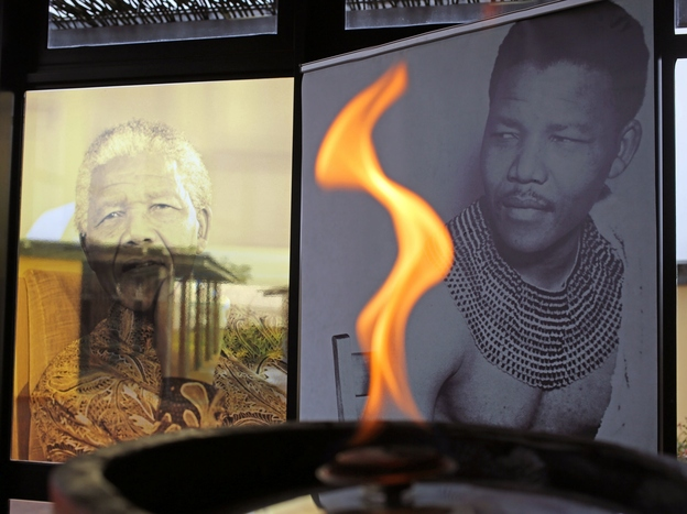 A flame burns for Mandela at the museum named in his honor.